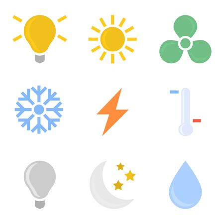 Set of colored icons of the remote control of the cooling system and air conditioning. Vector on white background