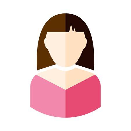 Icon girl. Vector illustration on white background Иллюстрация