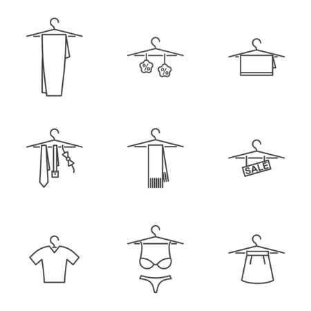 Icon set of things on a hanger. Vector on white background Иллюстрация