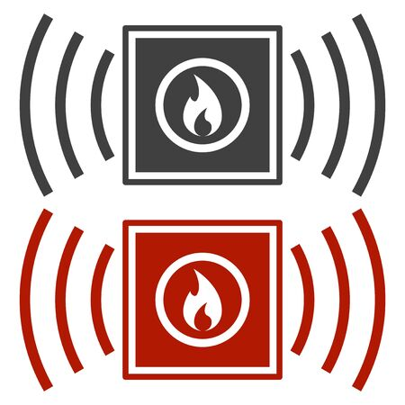 Fire fighting button icon. Black and red colors. Vector on white background Иллюстрация