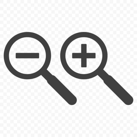 Magnifier icon. Symbol increase and decrease. Vector on transparent background