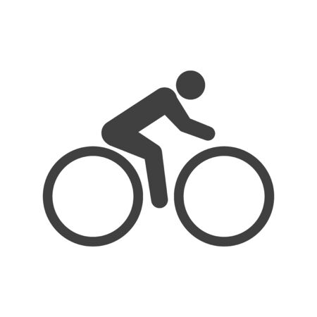 Single cyclist icon. Vector on white background