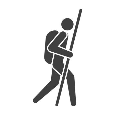 Icon tourist. Symbol traveler. Vector on white background