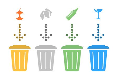 Illustration separate recycling. Vector on white background Иллюстрация