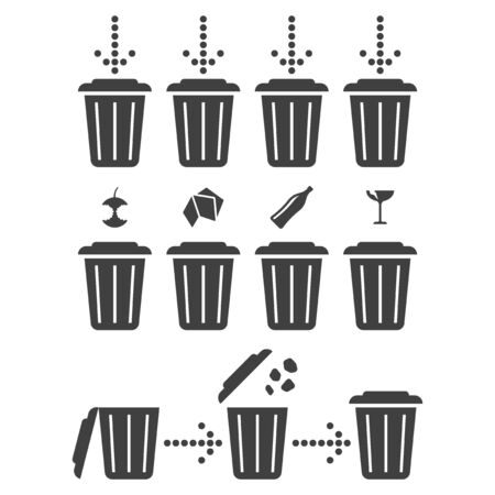 Set icons separate recycling. Vector on white background