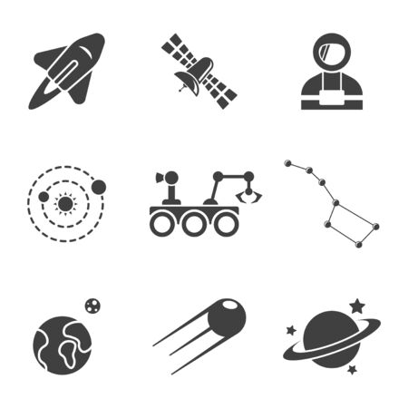 Set of space icons. Vector on white background Иллюстрация