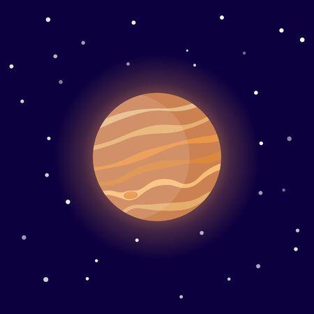 Planet Jupiter. Cartoon vector illustration on the cosmic background Иллюстрация