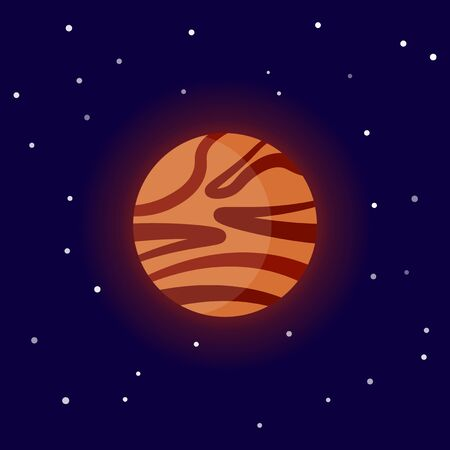 The planet Mars. Cartoon vector illustration on the cosmic background Иллюстрация