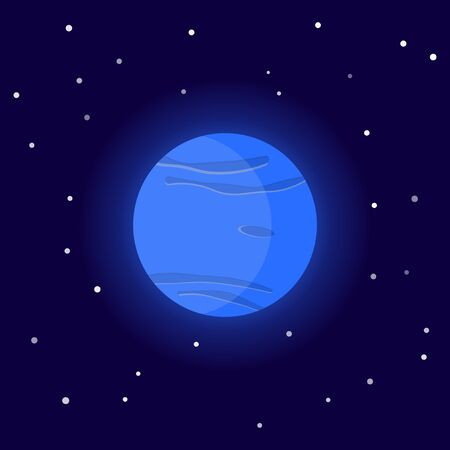 Planet Neptune. Cartoon vector illustration on the cosmic background