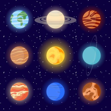 Icons of planets of the solar system and the sun. Cartoon vector illustration on the cosmic background