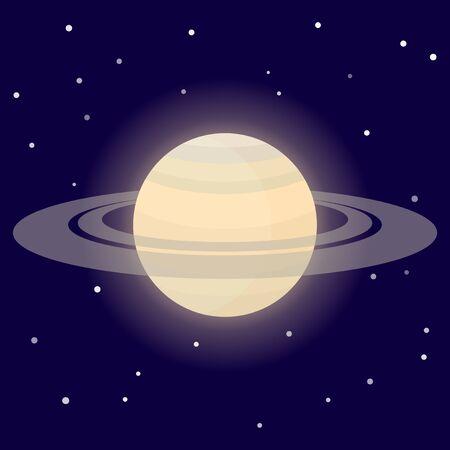 Planet Saturn. Cartoon vector illustration on the cosmic background Иллюстрация