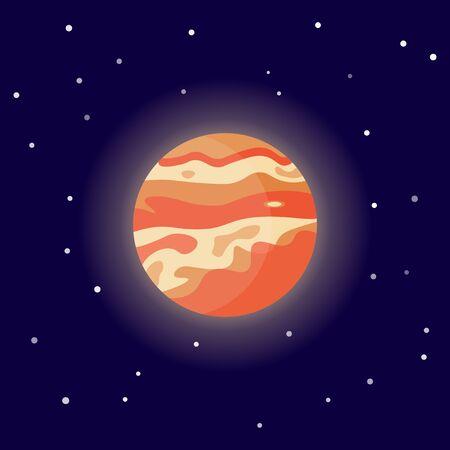 Planet Venus. Cartoon vector illustration on the cosmic background