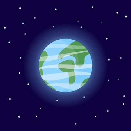 Planet Earth. Cartoon vector illustration on the cosmic background Иллюстрация