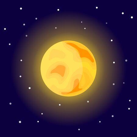 Sun icon. Cartoon vector illustration on the cosmic background