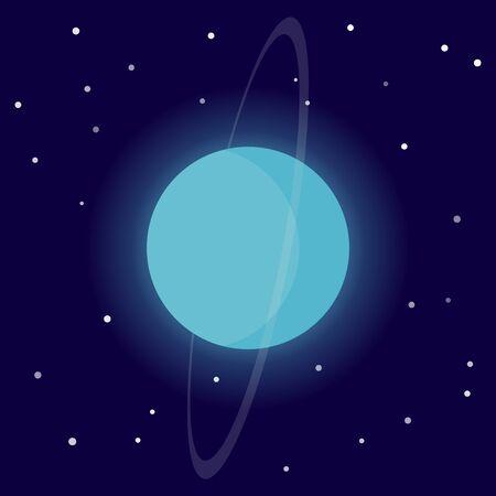 Planet Uranus. Cartoon vector illustration on the cosmic background Иллюстрация