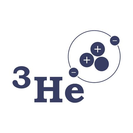 Helium 3. The structure of the atom. Vector on white background