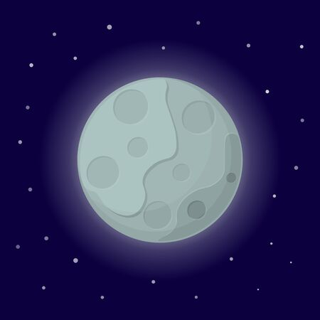 Moon icon. Cartoon vector illustration on the cosmic background