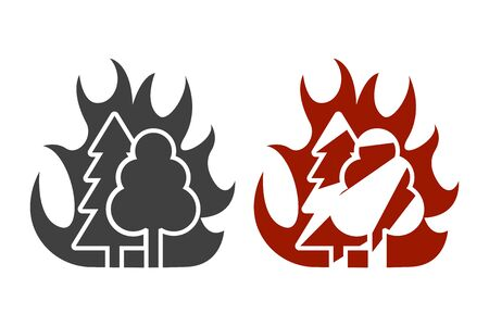 Icon of high forest fire risk. Two design options. Vector on white background