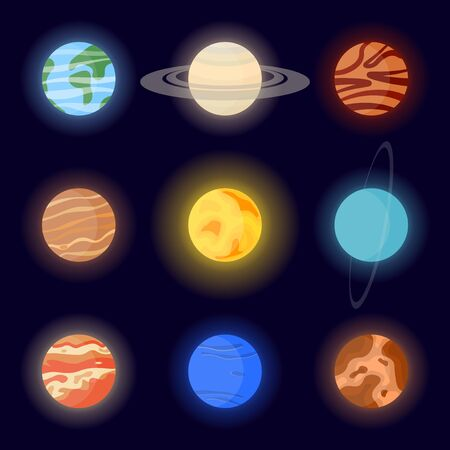 Icons of the planets of the solar system and the sun. Cartoon vector illustration on space background without stars Ilustrace