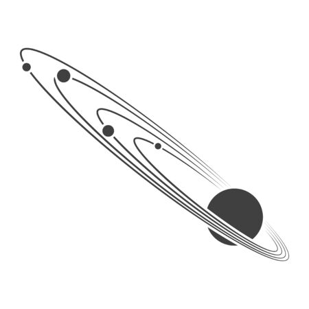 Icon of the orbits of the planets around the sun. Vector on a white background