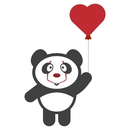 Panda - Pennywise with a balloon. Vector on a white background Stock Illustratie
