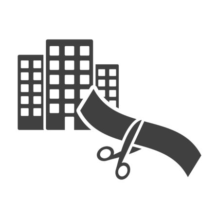 Icon of commissioning a building object. Vector on a white background