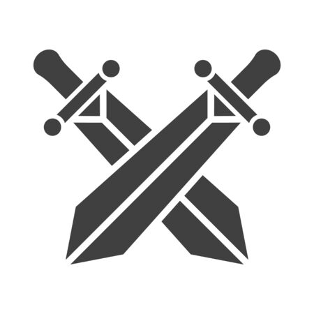 Crossed swords icon. Vector on a white background