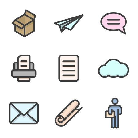 Colored icon set of delivery and transmission of text information. Contour stroke. Vector on a white background