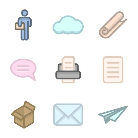 Colored icon set of delivery and transmission of text information. Vector on a white background 일러스트