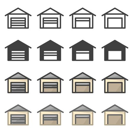 Set of icons garages for cars in different styles. Vector on a white background Illustration