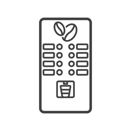 Coffee machine icon. Select the desired coffee with a place under the name and a tray for dispensing it. Isolated vector on a white background