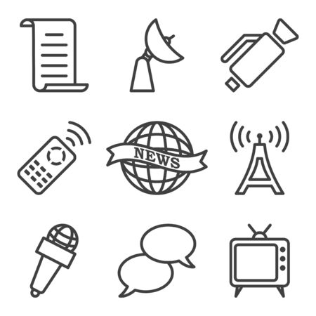 Set of tv icons. It contains images related to watching TV shows, as well as their production. Isolated vector on a white background