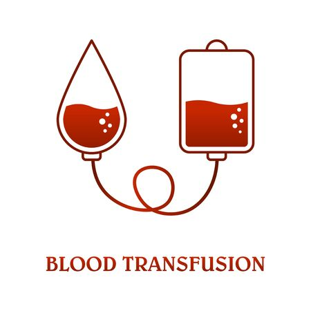 Blood transfusion icon. Image of a package for blood and a drop of blood, abstract view of the transfusion process. Isolated vector on a white background