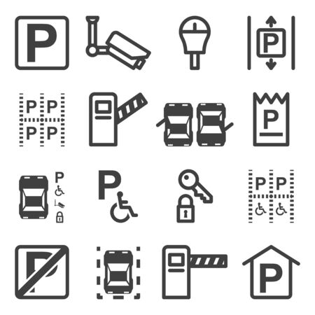 A set of icons related to parking, places for packing, as well as safety and the correct location in parking spaces. Isolated vector on a white background