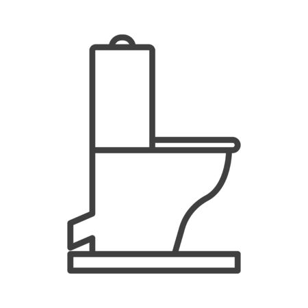 Symbol of Toilet. Thin line Icon of Inear Household Elements. Stroke Pictogram Graphic for Web Design. Quality Outline Vector Symbol Concept. Isolated vector on a white background