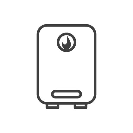Water heater icon. Boiler in the linear version. Isolated vector on a white background