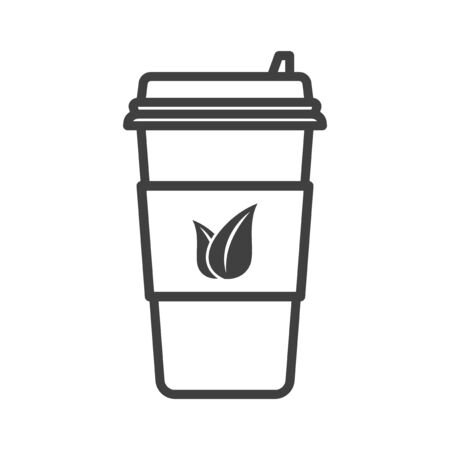 Icon paper cup for tea with a plastic cap. Linear execution. Image of tea leaves on the label. Isolated vector on a white background 일러스트