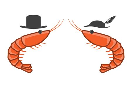 Cartoon icon of two shrimps opposite each other in male and female hats. Isolated vector on a white background.