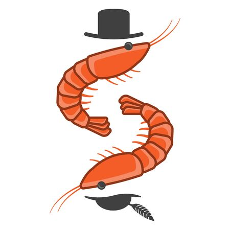 Cartoon icon of two shrimps opposite each other in male and female hats. Inverted mirror image. Isolated vector on a white background.