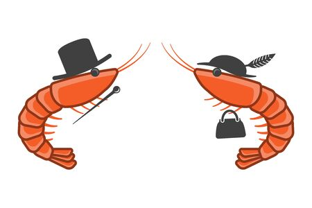 Cartoon icon of two shrimps opposite each other in male and female hats. A cane and a handbag in the paws of each shrimp. Isolated vector on a white background. 일러스트
