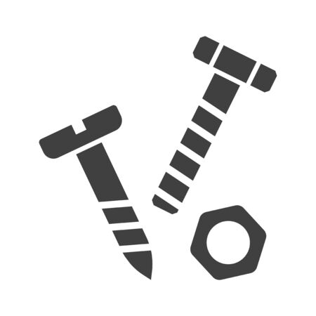 Icon bolt, nut and screw. Minimalistic black and white image. Isolated vector on a white background. Ilustrace