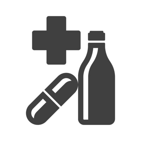 First aid kit icon. Minimalist image of the cross, tablets and bottles with medical drug. Isolated vector on a white background.