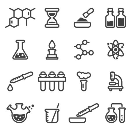 Set of chemistry and cooking related icons. Includes images, glass flasks, test tubes, ingredients and everything related to the laboratory. Isolated linear vector on a white background.
