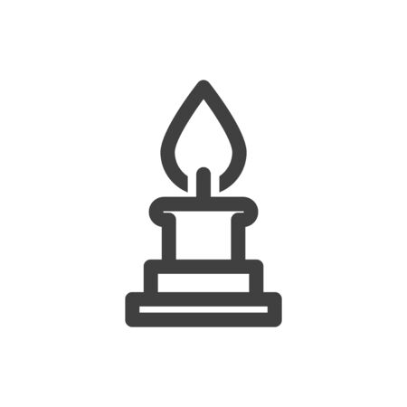Candle icon. Minimalistic linear image. Isolated vector on a white background. Vettoriali
