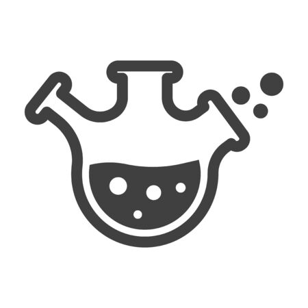 Laboratory flask icon. Minimalistic flask with three necks and bubbling liquid. Isolated vector on a white background.