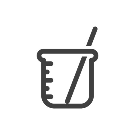 Icon measuring cup with a stick for stirring. Minimalistic linear design. Isolated vector on a white background.
