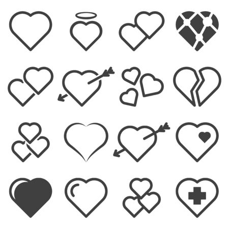 Set of icons with hearts. Various linear versions. Isolated vector on a white background.