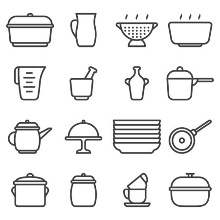 Kitchen utensil icons set. Contains various options for ceramic dishes. Linear minimalist design. Isolated vector on a white background. 向量圖像