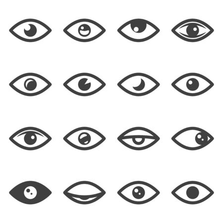 Eye icons set. Different variations of the linear image with different variations of the pupils. Isolated vector on a white background. 向量圖像