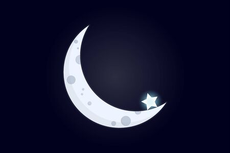 Crescent with a star. Part of the moon against the backdrop of cosmic void with a single star at its edge. Simple flat illustration. Vector